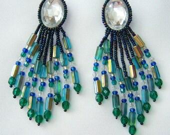 80s  green, blue, clear earrings