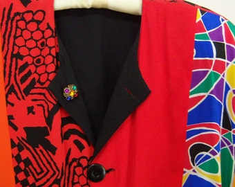 Art To Wear reversible silk jacket  (multicolor/black), crystal buttons