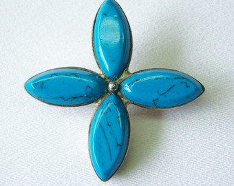 Mexican silver and blue turquoise cross pin