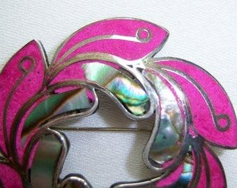 Abalone, fuchsia silver leaf pin and pendant