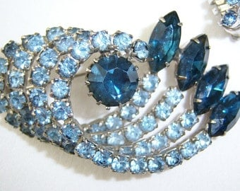 Blue rhinestone pin and earrings in TRUE BLUE Collection