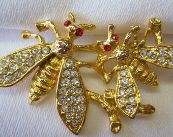 Two Bees gold and rhinestone pin