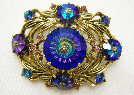 WEISS crystal pin with blues, purples, greens