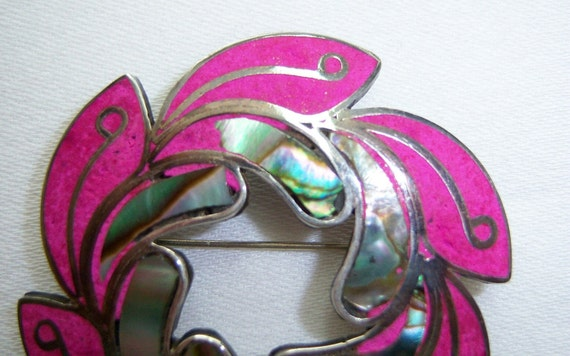 Abalone, fuchsia silver leaf pin and pendant