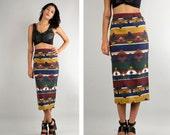 90's Southwest Print Skirt // Midi Skirt // Pencil Skirt // Bodycon // Tribal Print // Summer // Festival //  4 6 8  M