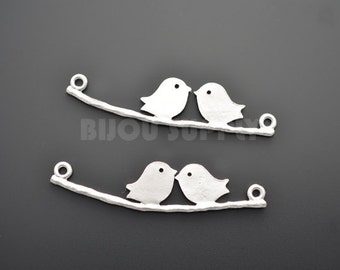 2pcs - Matte Rhodium Plated Two Bird on Branch Connector (B0009R)