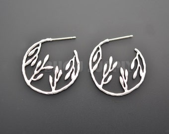 2pcs - Matte Rhodium Plated Willow in Circle Sterling Silver Post Earrings.(B0013R)