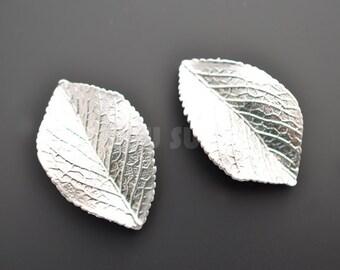 2pcs - Matte Rhodium Plated Leaf Connector (B0024R)
