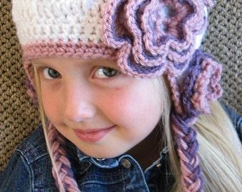 Crochet Hat Pattern - Abigail Crochet Flower Earflap Hat Pattern - Instant Download