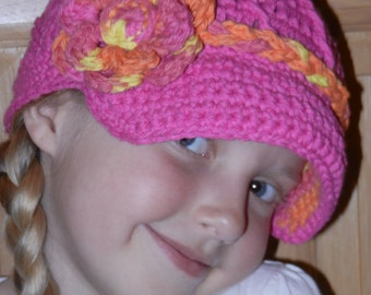 Crochet Hat Pattern - Twisted Newsboy Crochet Hat Pattern with Flower -  Instant Download