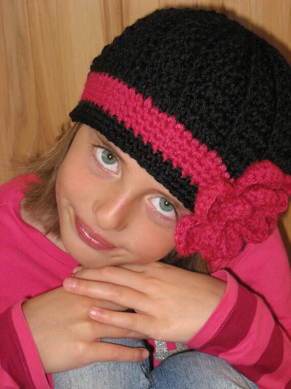 Crochet Hat Pattern - Twisted Flower Crochet Hat Pattern - Includes Crochet Pattern for 2 Different Flowers - Instant Download
