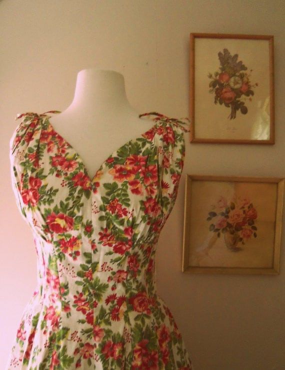 Let Love Come Last 1950s Green/Pink/Yellow Floral Print Dress AS IS