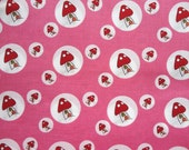Natalie Lymer Lecien Fabric  1 Fat Quarter  Woodland Toadstool Spots in Pink