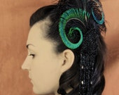 Victorian Beaded Applique. Ostrich and Peacock Feather Headpiece