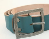 SALE, Turquoise, Leather belt, unisex, gift, christmas, aged metal buckle, broad, denim belt,