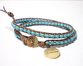 "Fine turquoise woven double wrap bracelet with ""Dream"" charm"