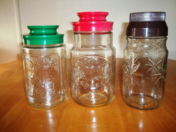 Set Of 3 Maxwell House Collectable Jars - Bicentenial 1776, Autumn, & Star Patterns