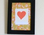 Framed  polaroid heart print