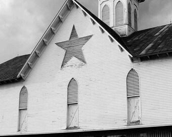 Star Barn Pennsylvania Historic Barn--Fine Art Photography-- Black and White photograph 8x12 or 12x18