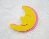 Felt Applique Iron on Applique Moon Yellow Sleeping Moon, kawaii applique shirt bag kid baby toys bag decoration