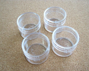 Clear Round Plastic Boxes High Quality 4pcs, gift box, woman, spring, container, jewelry box, ring box, bead box, supply box