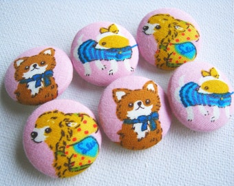 Fabric Buttons, Fabric covered button, pink cute animal Set 6pcs fox cat ,25mm, woman, summer, spring, cute ,quilt, handmade