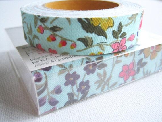 Fabric Tape Cotton Linen Tape Blue Pink Red Purple Yellow Wild Flower Pretty Tape, zakka , kawaii,card making ,gift package, scrapbook,