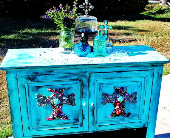 One of a Kind Rustic Turquoise Gemstone Cabinet
