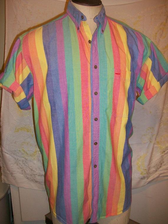 Rainbow Striped Men's Summer Shirt