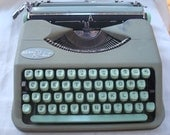 Reserved for Nancy- Please Do Not Purchase-Vintage Hermes Rocket Portable Pistachio Green Typewriter