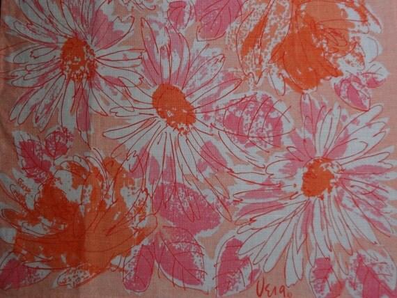 Vintage Vera Neumann Pink and Tangerine Floral Linen Tea Towel