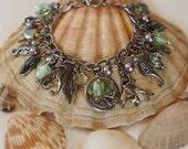 Sea Life Charm and Green Heart Feminine Bracelet