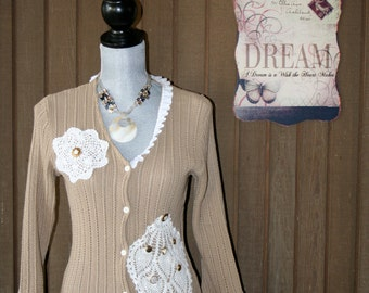 Upcycled Shabby Chic Boho Gypsy Sweater French Country Cottage Chic Country Prairie Girl