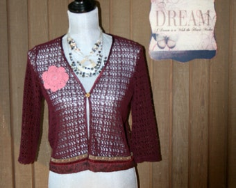 Upcycled Repurposed Boho Gypsy Sweater Shrug Ranch Girl Prairie Girl Cardigan Eco Friendly
