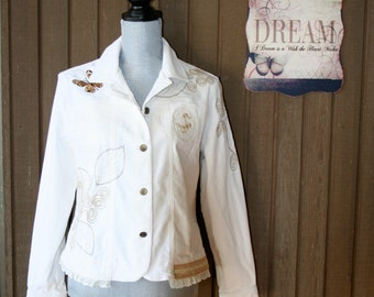 Upcycled Tattered Shabby Chic Country Ranch Rustic Jacket  Prairie Girl Cowgirl Girl Mori Girl Blazer