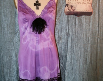 Upcycled Gypsy Boho Slip Dress Tattered Shabby Chic Dress Purple Bohemian Cowgirl Country Chic Slip Dress