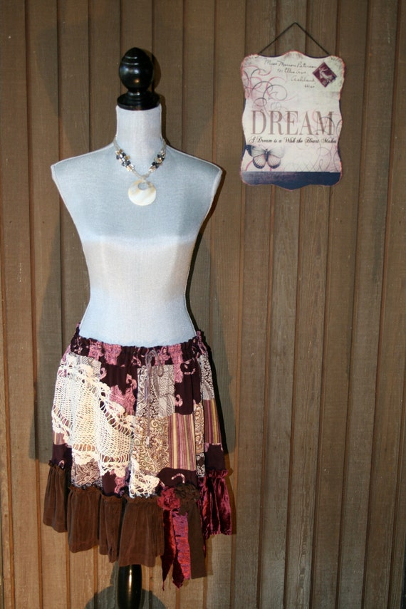 Upcycled Boho Gypsy Skirt Country Chic Skirt Ranch Prairie Girl Skirt Cowgirl Cottage Cute