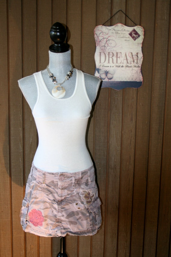 Upcycled Tattered Country Chic Beach Mini Skirt Ranch Prairie Girl Skirt Cowgirl Cottage Cute