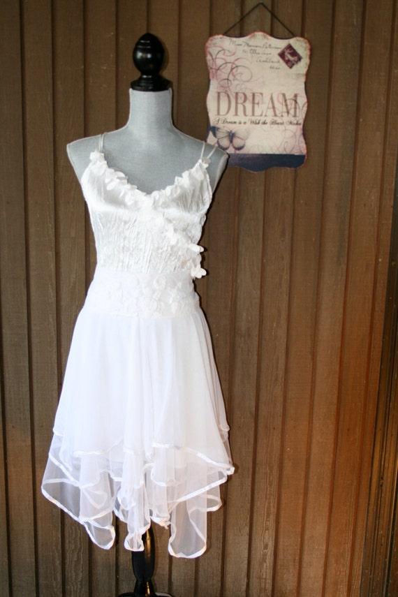Upcycled wedding dress shabby chic tattered dress romantic for Country chic wedding dress