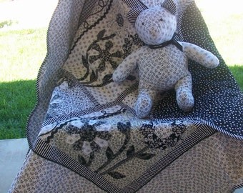 Quilt, Whimsical Black and White Appliqued, Lap  or Wall Hanging