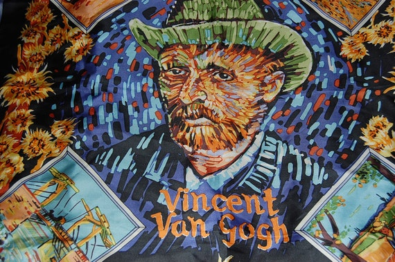 vintage Vincent Van Gogh scarf self portrait  and 4 other paintings