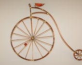 PENNY FARTHING BIKES, old fashion giant bicycle,high wheel,copper,bicycle ,bike sculpture, metal wall art,