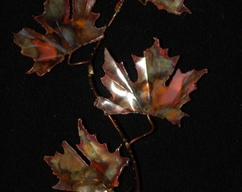 COPPER MAPLE LEAF: fIve leaf,metal sculpture,wall art,metal art ,metalwork,wall sculpture,maple leaves,unique art