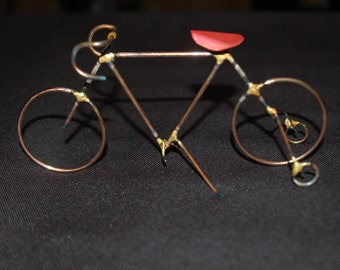 BICYCLE: THE RACER with training wheels,.copper,steel,bike sculpture,home decor,collectable