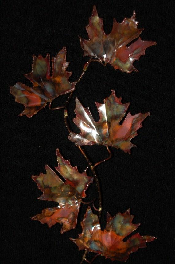 COPPER MAPLE LEAF: fIve leaf,metal sculpture,wall art,metal art ,metalwork,wall sculpture,maple leaves,unique art