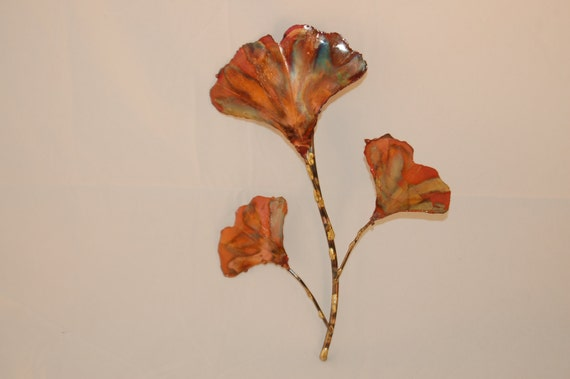 COPPER  Ginkgo branch: This handcrafted metal sculpture,home decor,