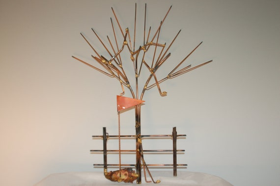 Metal Sculptures And Art Wall Decor: Golf Clubs In Tree: Copper Brass Bronze And Steel Metal Art