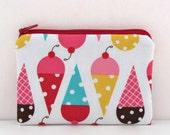 Sale Children's Kids Gift Coin Purse / Little Zipper Pouch - Ice Cream Cones Girl's Accessories Wallet