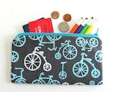 bicycle zipper pencil case pencil pouch - Back to School grey aqua Children Gift bikes Kids Adult Accessory