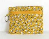 Sunshine Yellow Coin Pouch Small Zipper Purse / Money Pouch with Key Ring Spring Flowers